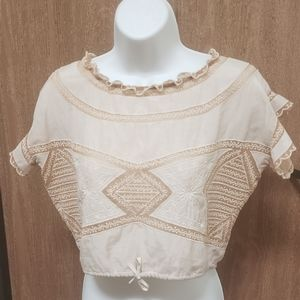 For Love and Lemons Embroided Ruffle Top Size S